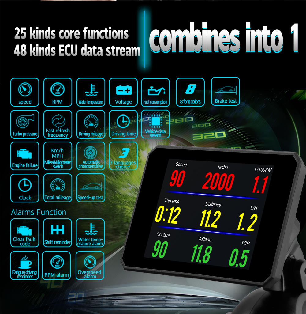 HUD P16 5 8  Digital TFT screen OBD2 Head up display Car speedometer Windshield Projetor 8 Interface Projection