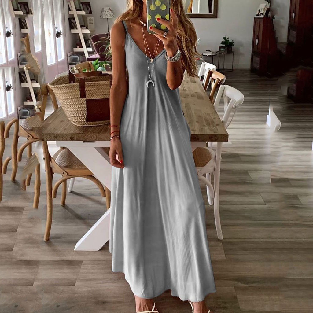 2019 Women Sexy Tie Party Dress Beach Mini Dress Gradient Summer Boho Casual Sleeveless V-neck Print Maxi Tank Long Dress