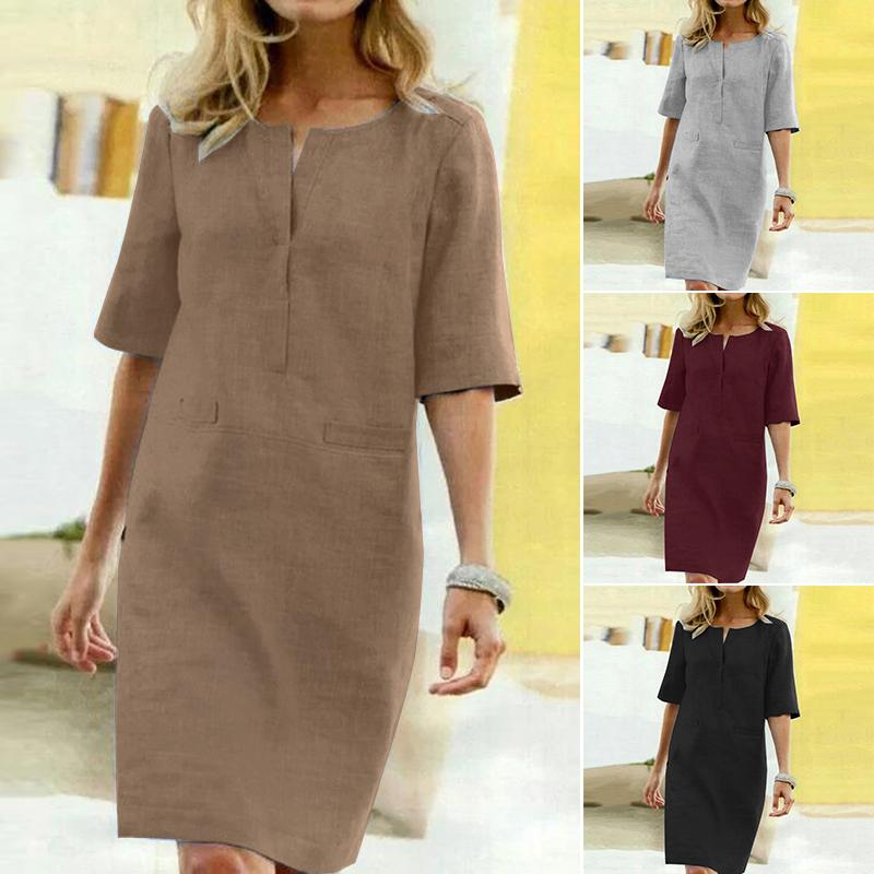 2020 ZANZEA Shirt Dress Women's Summer Sundress Vintage Casual Tunic Vestidos Elegant Female Half Sleeve Party Robe Plus Size