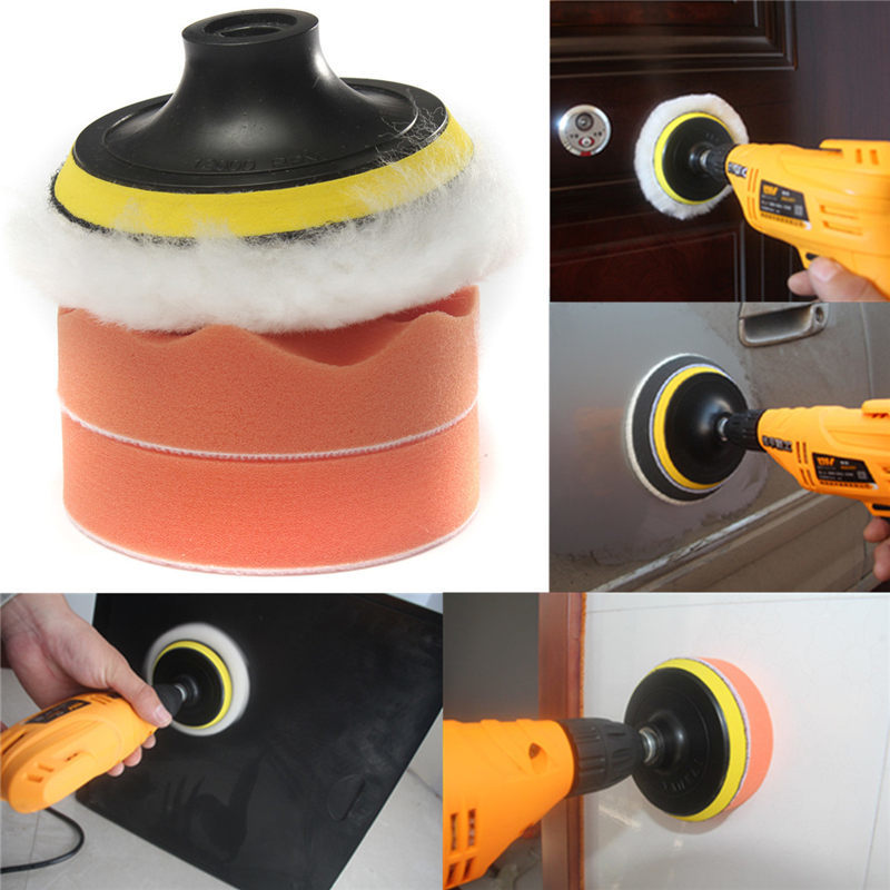 4Pcs/Set 4Inch Car Buffing Pad Polishing Sponge Kit For Car Polisher M10 Drill Adapter Cleaning Coating Wash Tool Car Accesories