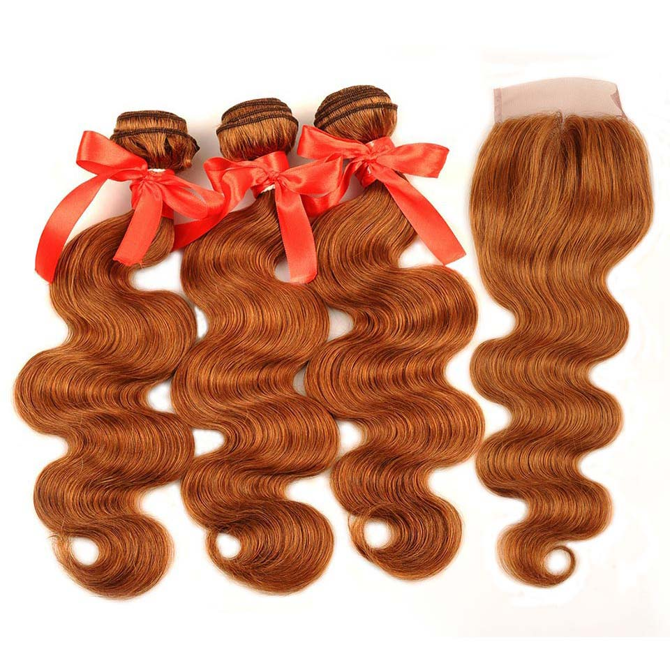 Pinshair Hair Colored 30 Honey Blonde Bundles With Closure Body Wave Peruvian Human Hair 3 Bundles With Closure Non Remy No Shed (35)