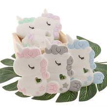ATOB10pcs jednorożec Baby gryzak silikonowy gryzoni boże narodzenie prezenty dla smoczek wisiorek małe pręt DIY produkt dla dzieci do żucia gryzaki