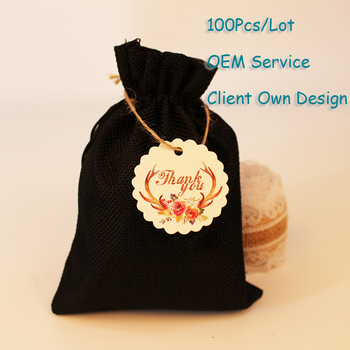 Organza Bag Tag Natural Burlap Bag Tag White/Brown/Black/Black Kraft Paper Card Printing Hangtag Can Customized image