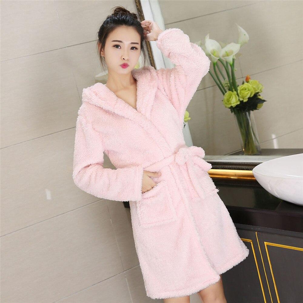 Hooded Coral Fleece Nightwear Cute Warm Robe Sleepwear Kimono Gown Short Belt Pyjamas Pocket Women Home Clothing Bathrobe