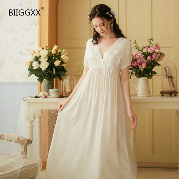 Biiggxx Short Sleeve Cotton Nightdress for Women Summer Retro Palace Style Princess Sexy Lace V-Neck Long Skirt retro style women s lace splicing fishtail skirt