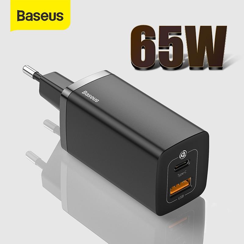 Chargeur USB Baseus 65W GaN Type C chargeur rapide QC 4.0 PD 3.0 Charge rapide pour iPhone 12 Samsung Xiaomi Macbook Mini chargeur USB