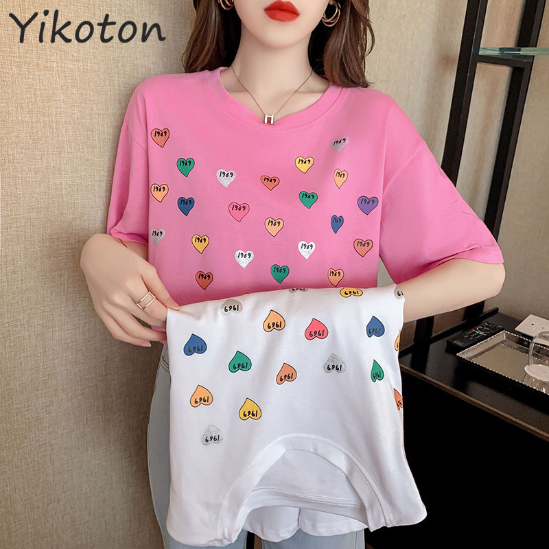 Women Cotton T Shirt Casual Short Sleeve Tshirt Femme 2021 Summer Women's Clothing O-Neck Lady Tops Pink White Basic Shirt New