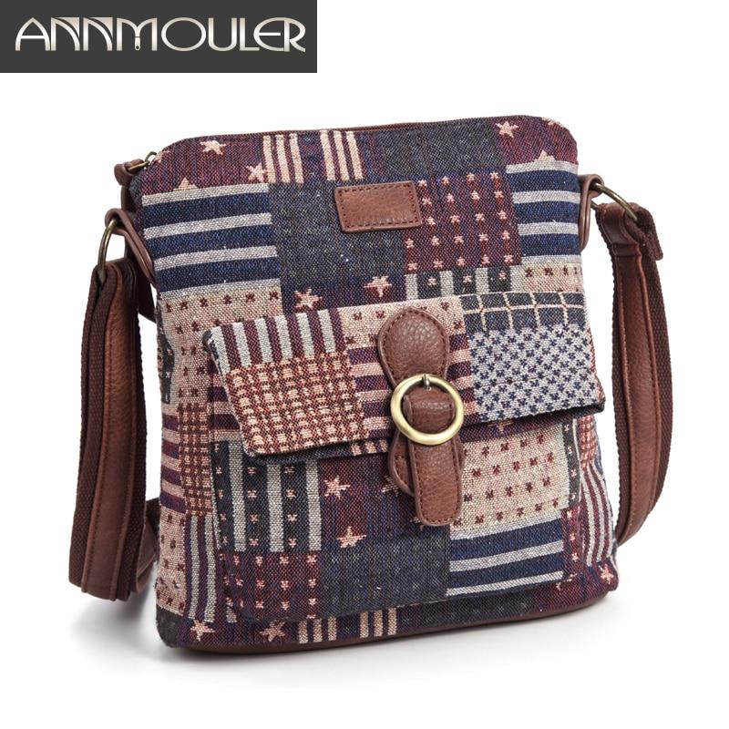 Annmouler Vintage Women Shoulder Bag Fabric Crossbody Bag Brand Designer Handbag Purse Woman Messenger Bag Girls Tote Bag