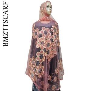 Image 3 - Écharpes africaines pour femmes musulmanes, écharpe en filet brodée, écharpe transparente de conception circulaire pour châles, BM02, nouvelle collection