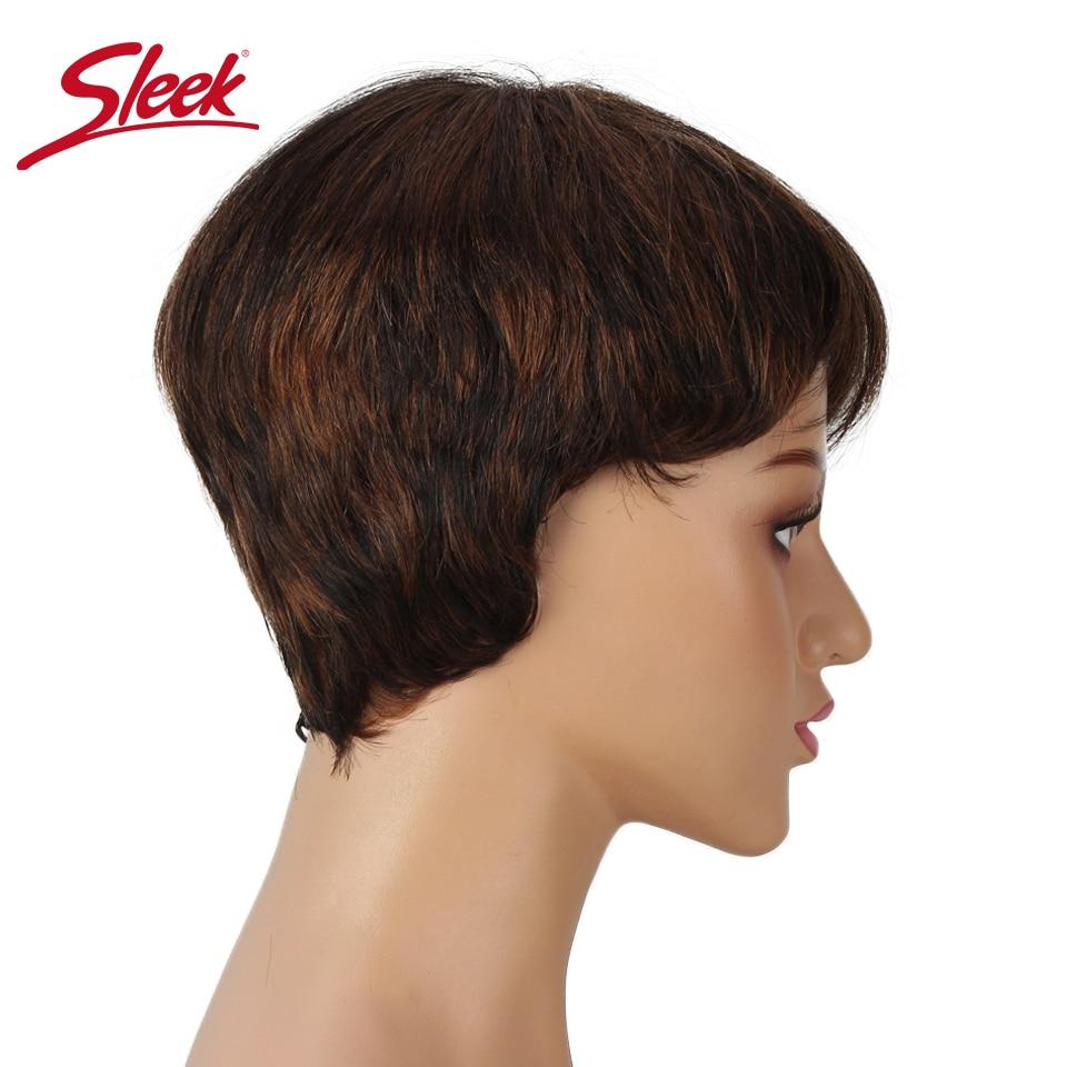 Elegante perucas de cabelo humano pixie corte