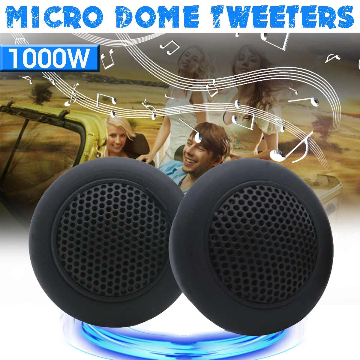 12V-24V 1Pair HIFI Micro Dome Tweeters 89db <font><b>Car</b></font> <font><b>Audio</b></font> Music <font><b>Speakers</b></font> Automobile Horn Loudspeaker Stereo Treble Tweeters <font><b>Speaker</b></font> image