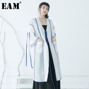 [EAM] Women White Ribbon Perspective Big Size Blouse New V-collar Long Sleeve Loose Fit Shirt Fashion Spring Summer 2020 1T567