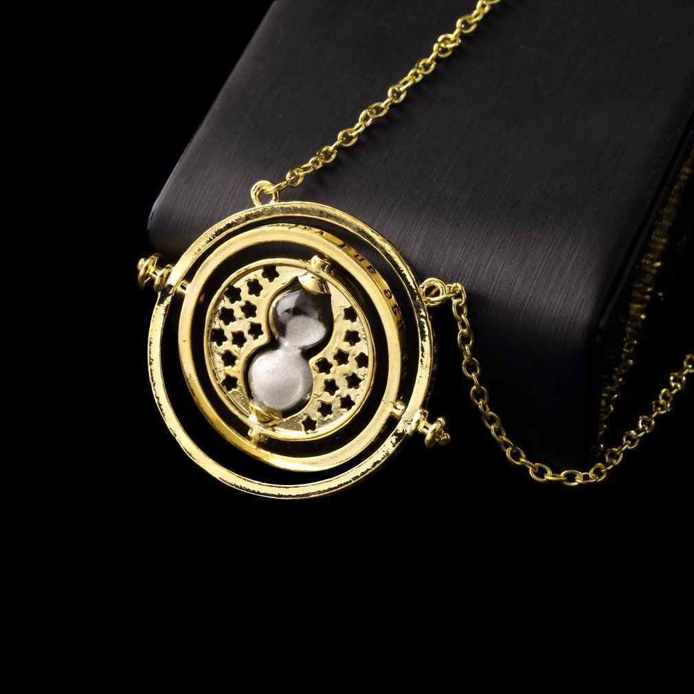 GENBOLI czas Turner naszyjnik obrotowe spiny złota klepsydra wisiorek w stylu Vintage okrągłe mężczyźni kobiety biżuteria prezent na Boże Narodzenie dla dzieci