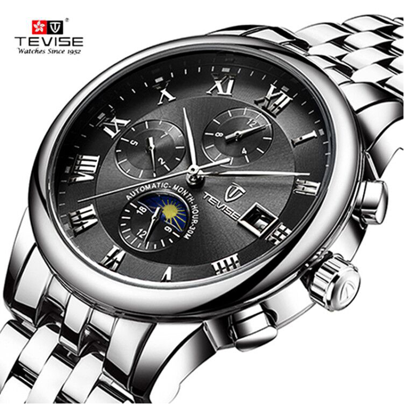 Dropshipping Tevise brand Men watch Automatic Mechanical fashion moon phase stainless steel male watches  Relogio Masculino