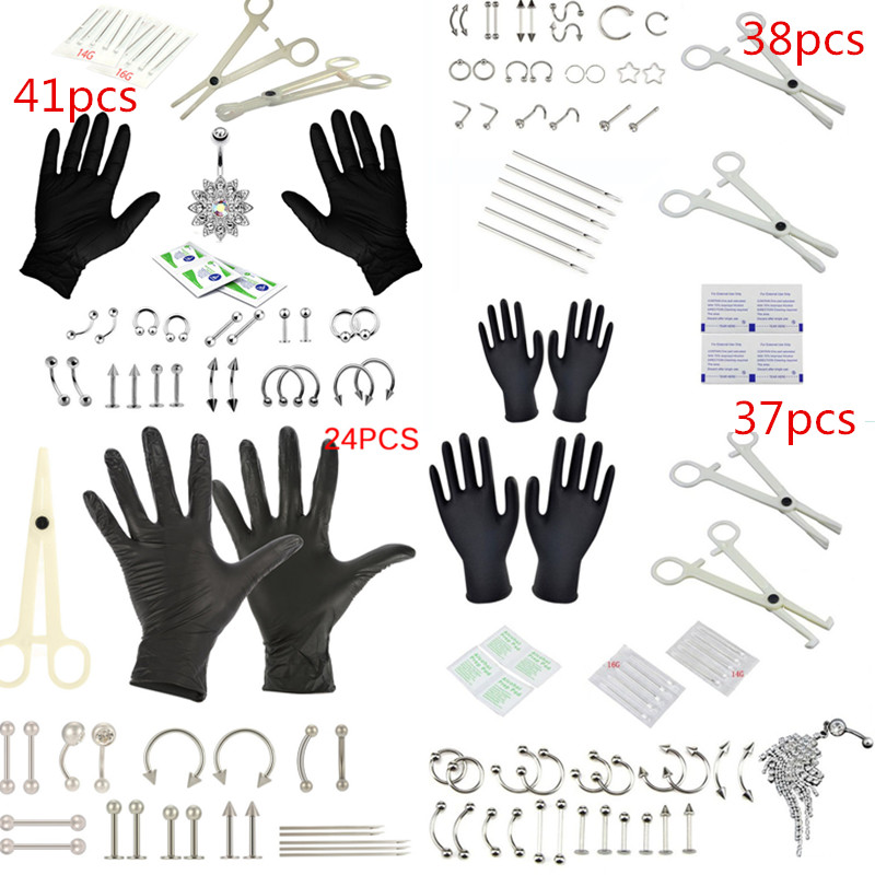 Hot Sale Tongue Eyebrow Nose Belly Button Body Jewelry Piercing Rings Clamp Gloves Needles Tool Kit Ear Plug Prong Studs 8-41pcs(China)