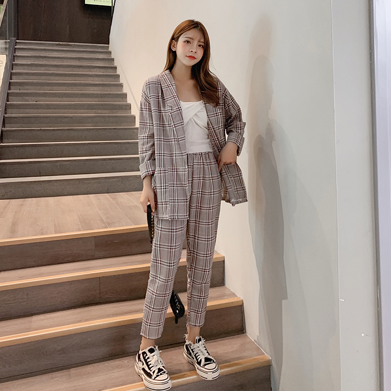 2019 Autumn New Womens Two-piece Set Long-sleeved Plaid Jacket + High Waist Ankle-length Pants Korean Casual Loose Women Sets
