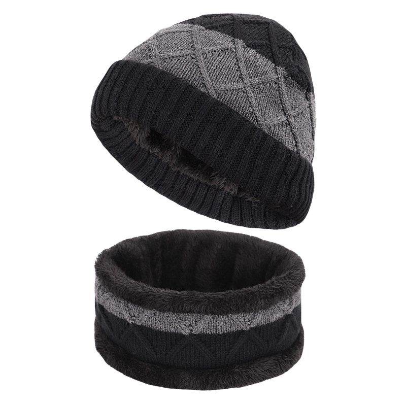 Hiking… Mens Thermal Fleece Lined Slouch Beanie Hat and Neckwarmer Snood Skiing