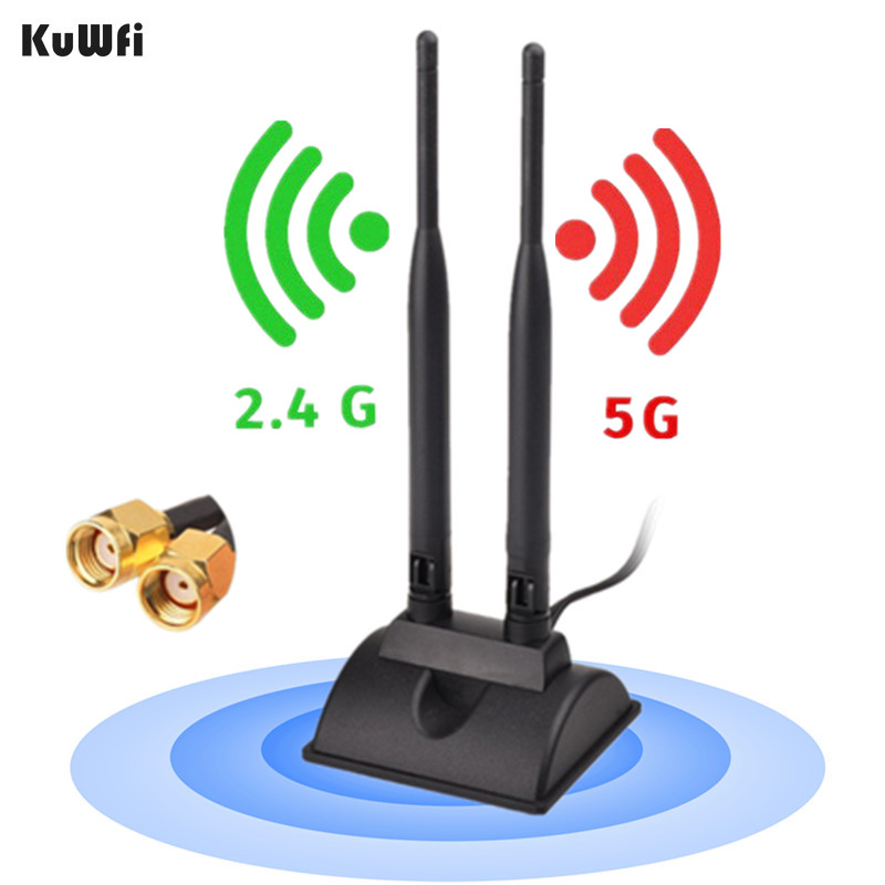 KuWfi External Wifi Antenna 6dBi Dual Band 2.4G&5G Magnetic Base RP-SMA Antenna For TP-LINK ASUS NETGEAR Linksys D-Link Router