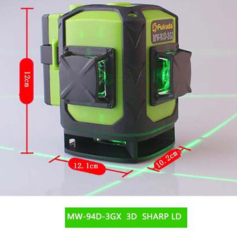 Fukuda бренд 16 линий 3D MW-94D-4GJ лазерный уровень самонивелирующийся 360 горизонтальный вертикальный крест супер зеленый лазер пульт дистанционного управления - Цвет: MW-94D-3GX