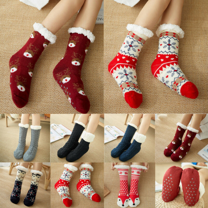 Home Warm Twist In Tube Socks Women Autumn Winter Soft Cozy Fuzzy Fleece-lined Xmas Gift With Grippers Slipper Indoor Wear Socks