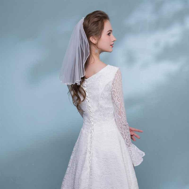 טול שמלת כלה רעלות לבן סרט קצה Rhinestones מזויף פנינים קצר כלה שיער רעלה מסרק פיות כלה אביזרי נישואים