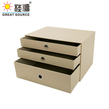 3 Layers Cabinet Office Storage Home Organizer Cabinet Beige Natural Paper Environment Friendly(Single)