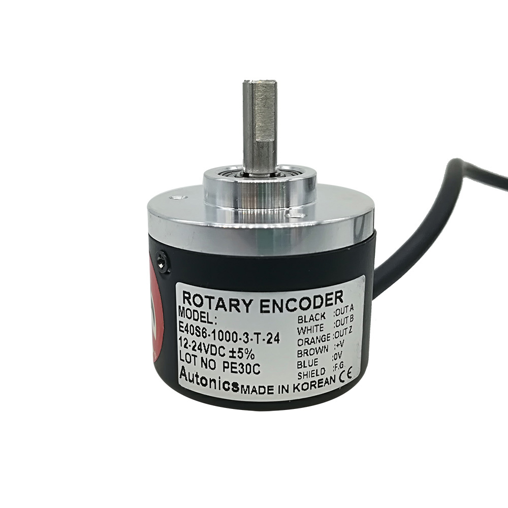 Good Price For E40S6 6mm Solid Shaft Totem Pole Output Incremental Rotary Encoder 360 1000 2500PPR E40S6-1000-3-T-24