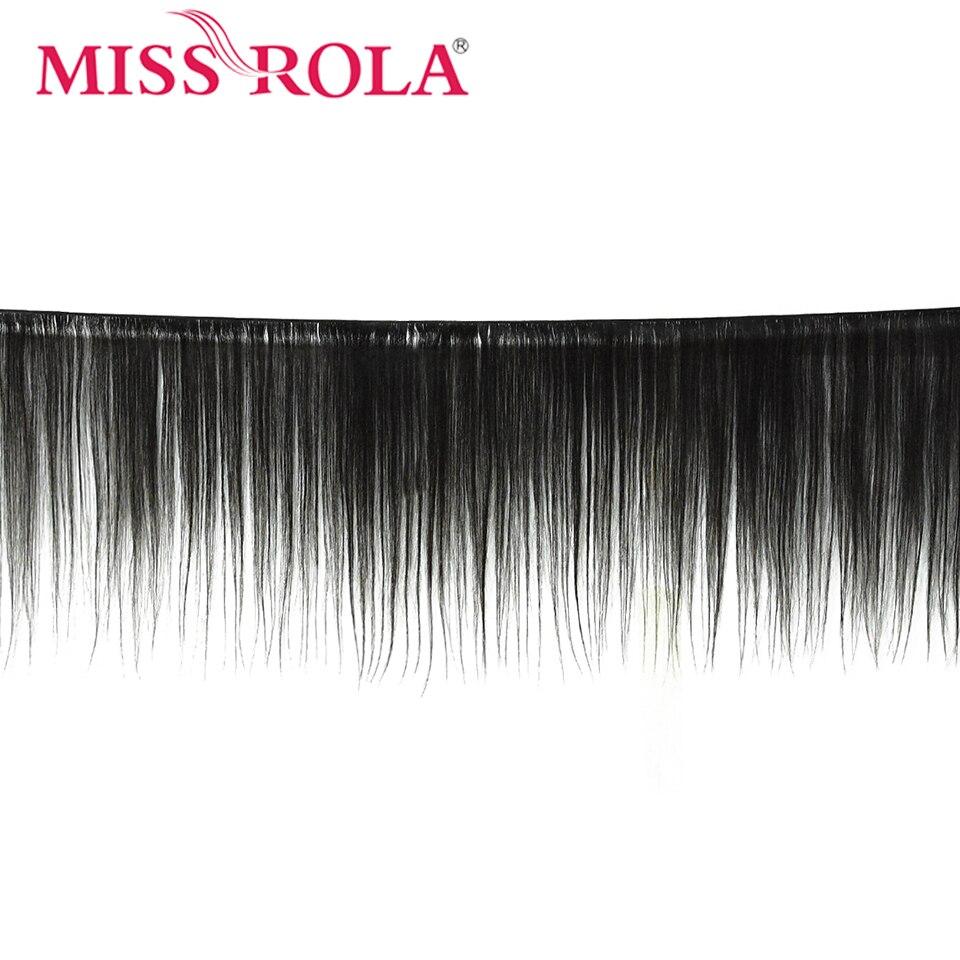 Image 2 - Miss Rola прямые волосы перуанские пучки волос с закрытием 100% Huaman Волосы 3 пучка 8 26 дюймов не Реми волосы для наращивания-in 3/4 пучка на сетке from Пряди и парики для волос on AliExpress