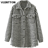 Autumn Winter Women Oversized Vintage Plaid Tweed Jackets Coat Chic Pockets Tassel Outerwear Tops Female Casual Loose Clothes 1