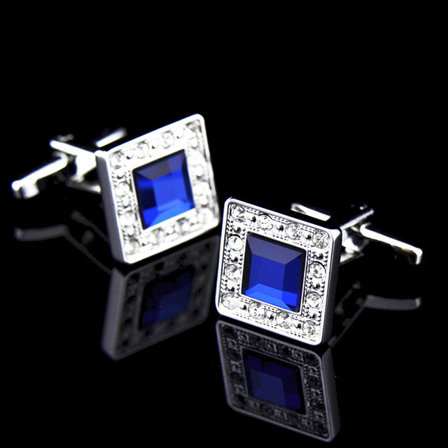 Metal Blue Crystal  Classic  Luxury Cufflinks 3