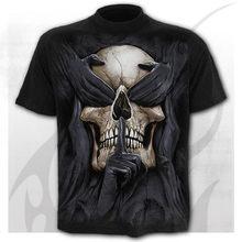 Camisetas de calavera para homem, camisetas punk 3d, camisetas de moda de verano, camiseta de cuello redondo, ropa de