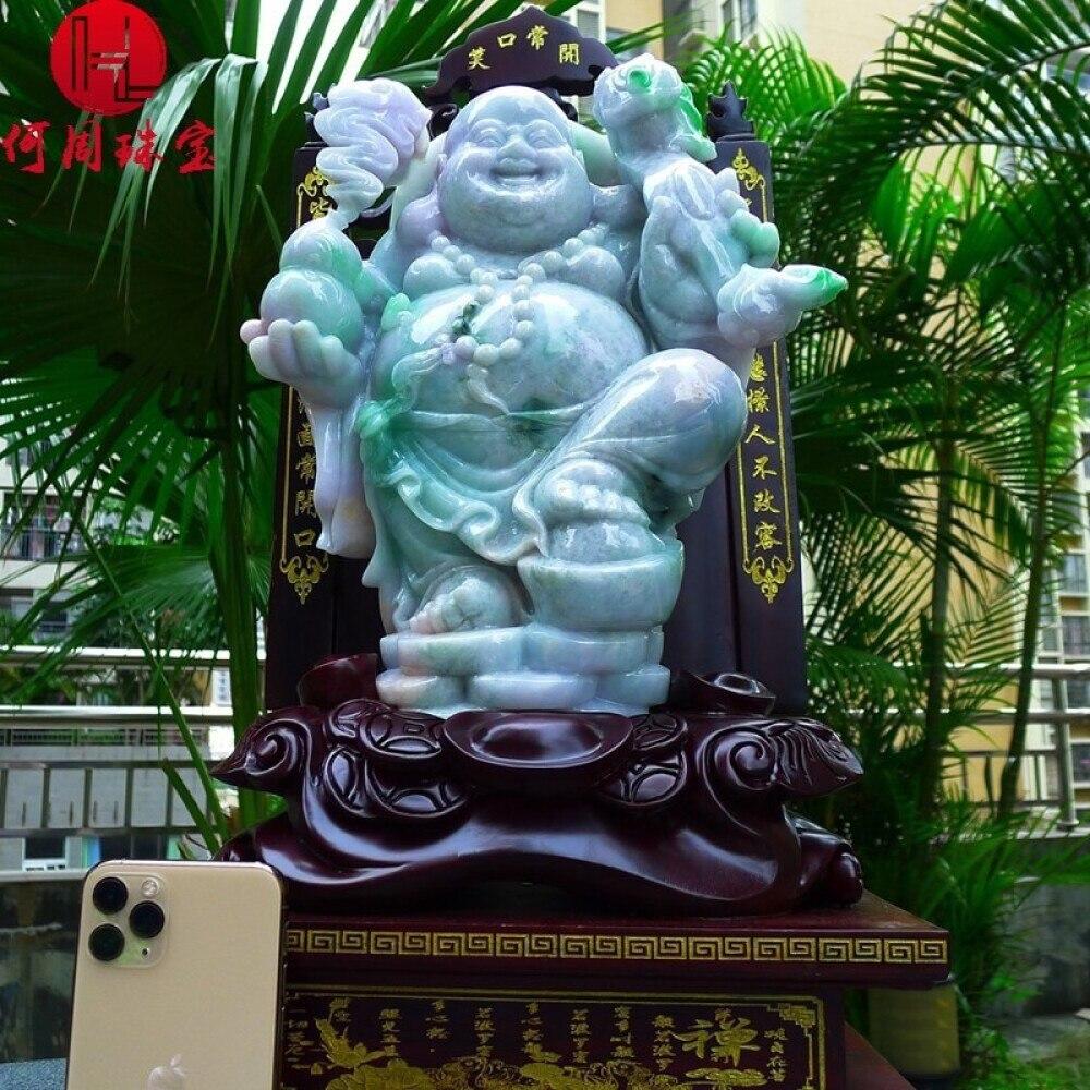 Hezhou jewelry!Myanmar natural jade!Buddha hand-carved decoration!Living room desk accessories!20.76jins 2