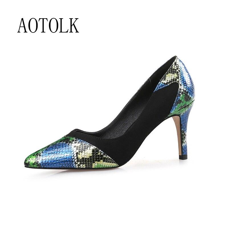 Cuir véritable femmes chaussures talons hauts de luxe femme pompes bout pointu chaussures de mariage talons printemps automne robe chaussures grande taille 44