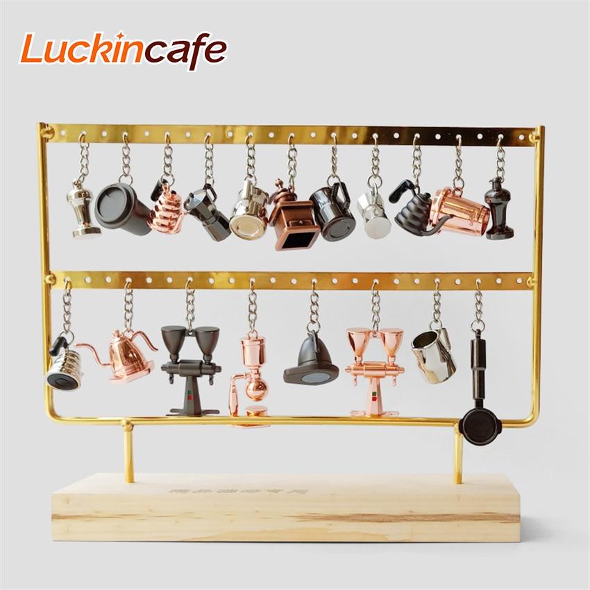 Coffee Machine Accessories Keychain Portable Creative Barista Coffee Tamping Gift Coffee Machine Handle Mocha Pitcher Key Ring