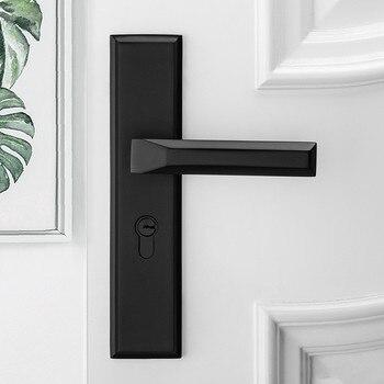 Black Interior Door Handle Door Lock for Bedroom White Plate Interior Door Lock for Bathroom black space aluminum treasure bedroom room door handle interior wooden door lock handle lock kit