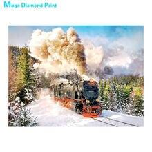 Trem a vapor do vintage na neve floresta cenário pintura diamante redonda broca completa diy mosaico bordado 5d ponto cruz presentes
