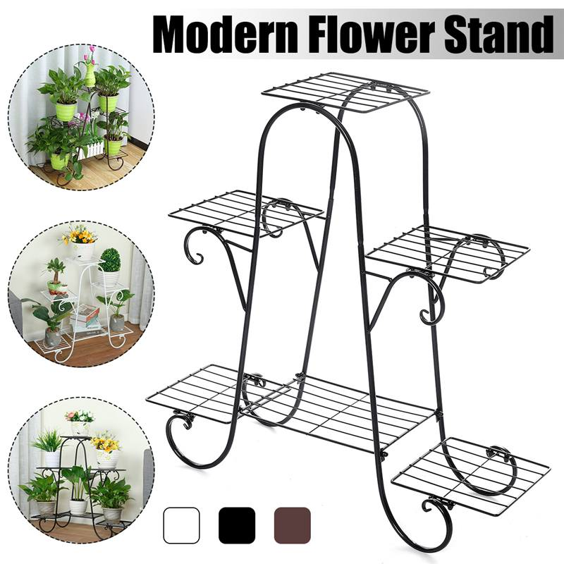 Soporte de flores de hierro forjado europeo de 6 capas, soporte de flores de varios pisos para interiores, maceta de pie para flores de balcón, estantes