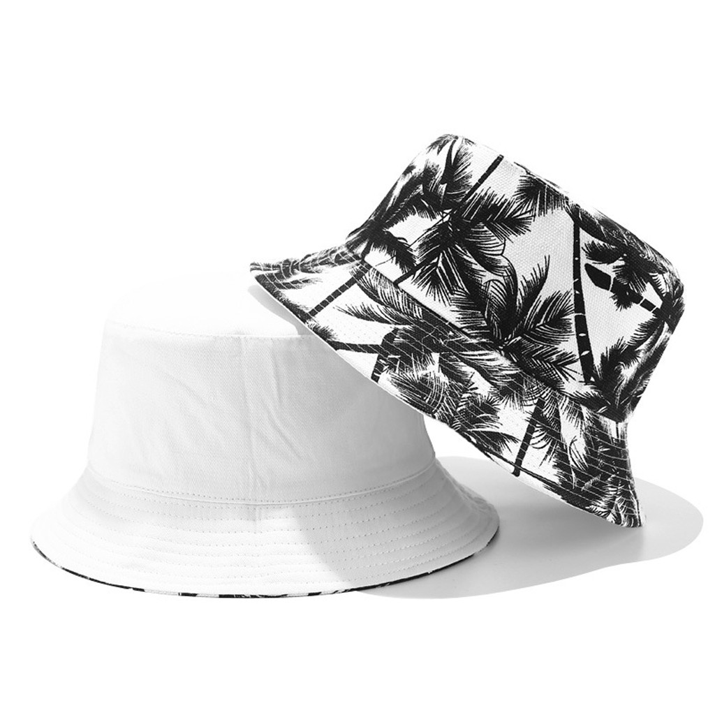Fashion Women And Men Print Canvas Two-sided Outdoors Bucket Hat Sun Hat Cap Bucket Hat Hip Hop For Man And Woman Summer Hat