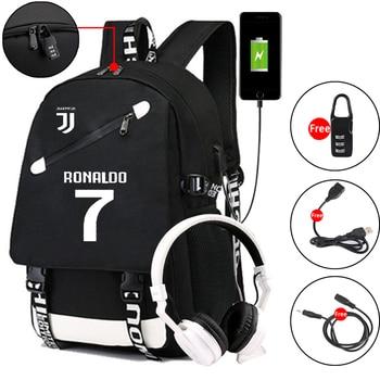 Ronaldo Luminous Backpack for Teenager Boys Anti-theft Backpack Men Large-capacity Football Bag College Stylish Girl School Bags