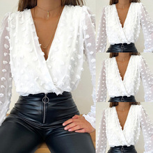 Fashion Shirt Blouses Neck-Top Mesh Jacquard Long-Sleeve Polka-Dot Female White Sexy