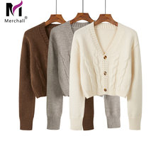 2020 new autumn women knit cardigans sweaters solid v neck loose