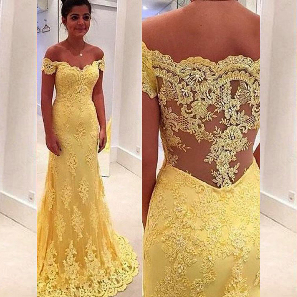 Yellow Lace Long Prom Gown 2018 Short Sleeves Robe De Soiree Sexy Sheer Back Evening Party Elegant Mother Of The Bride Dresses