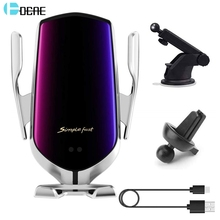 DCAE 10W QI Wireless Car ChargerสำหรับiPhone 12 11 XS XR 8 Samsung S20 S10 Fast Charging Air vent Mountอัตโนมัติผู้ถือClamping