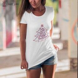 We Wish You A Merry Christmas tree Shirts Tshirt Women Funny Print  Trees Cute Festival Teenage T Shirt Fashion Gift Tops