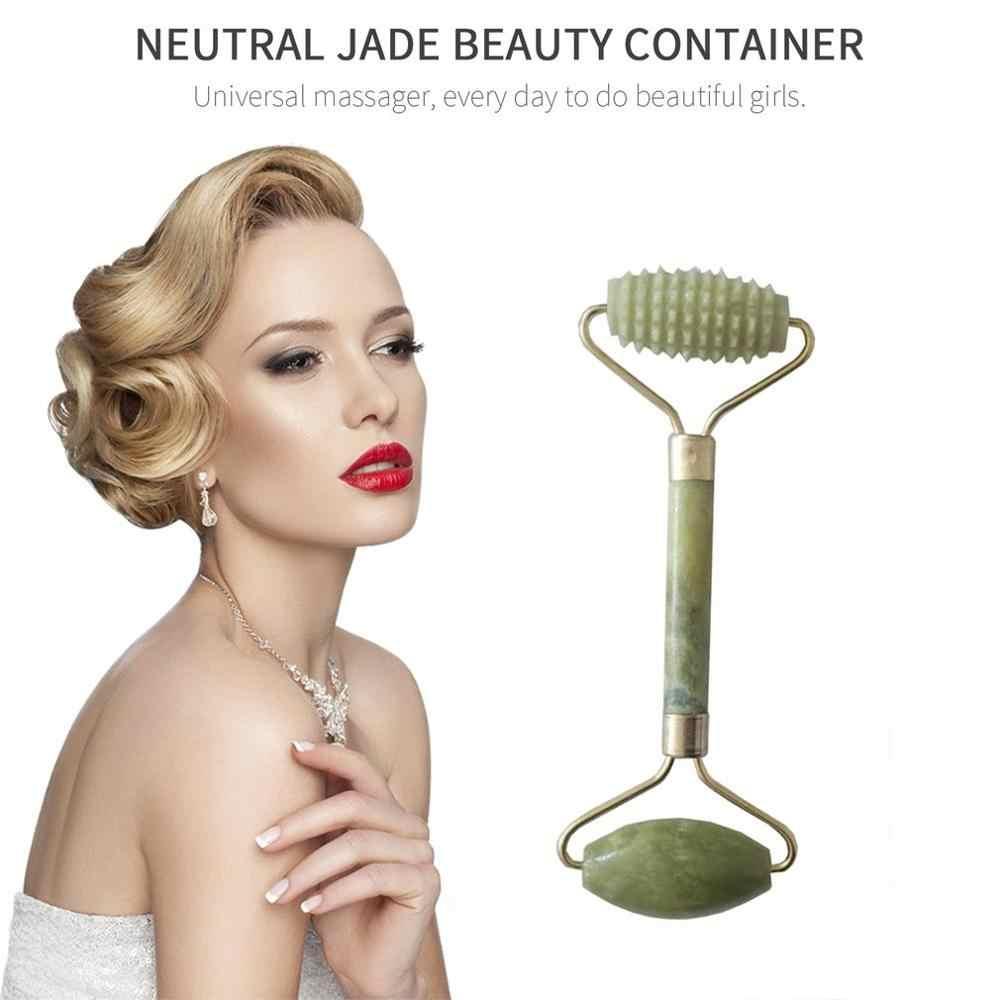 Doble verde esmeralda elíptico rodillo masajeador cuello de ojos cuidado de la salud cara delgada herramientas de belleza embalaje de espuma