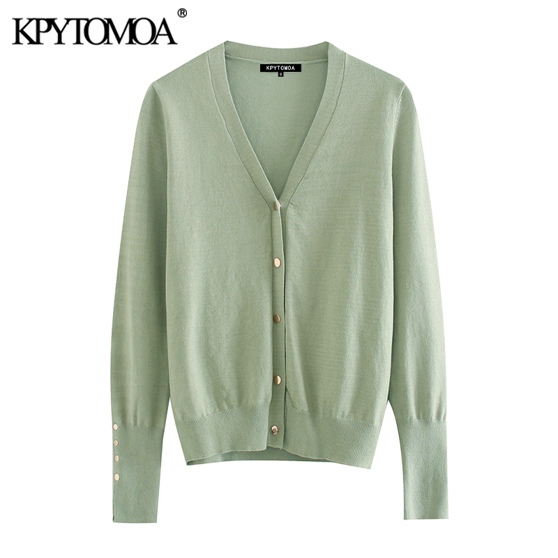 KPYTOMOA Women 2020 Fashion With Buttons Knitted Cardigan Sweater Vintage V Neck Long Sleeve Female Outerwear Chic Tops