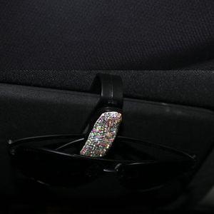 Image 3 - Rhinestone elmas gözlük güneş gözlüğü klip araba aksesuarları güneşlik klasörü bilet makbuz kart klibi depolama tutucu kılıf