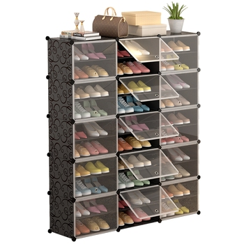 Simple Multilayer Modular Shoe Cabinet Easy Assembly Boots Shoes Storage Organizer Home Space Saving Closet Plastic Shoe Rack