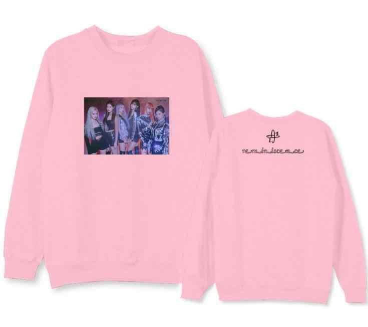 Everglow 새 앨범 같은 회원 사진/로고 같은 인쇄 얇은 후드 kpop 남여 패션 pullove o 목 스웨터