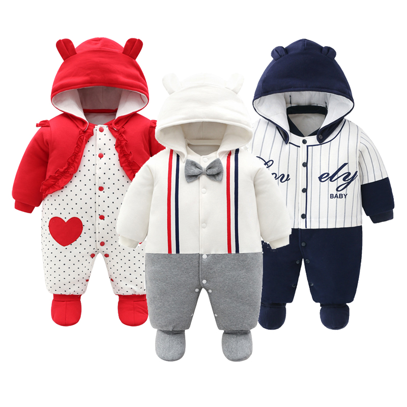 2019 New Baby Autumn Clothing Newborn Boys Girls Winter Thickening Jumpsuit Printed Cartoon Climbing Footies Warm Cotton Outfits